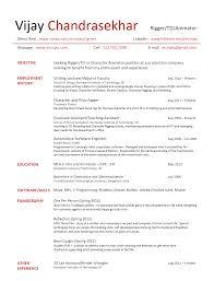 Animator Resume Free Resume Example And Writing Download