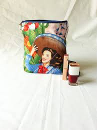 cosmetic case make up bag makeup bag mexican fabric pin up s