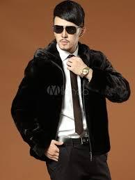 faux fur coat men s hooded long sleeve zip up regular fit short