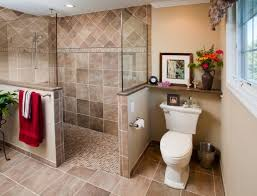 bathroom with walk in showers without door with brown tiles wall up to ceiling half