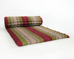 mattress roll. roll up thai mattress, 200x76x5 cm, kapok, green red mattress f