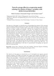 pdf test of a group effect in a regression model relating two blocks of binary variables with sem uls sem pls