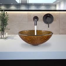 1 of 5free vigo textured copper glass vessel sink and olus wall mount faucet set in antique