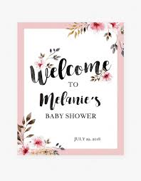 Design A Onesie Baby Shower Blush Flowers Welcome Sign For Shower Party By Littlesizzle