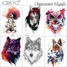 Ioridyo акварельные племенные лисы временные татуировки наклейки
