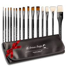artist paint brushes 15pc art paint brush set professional artist brushes for watercolor acrylic gouache oil painting maestro series xv with brush