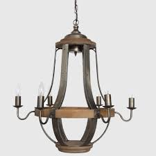 6 light round wood metal chandelier