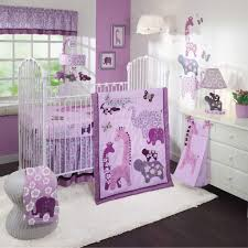 jungle themed purple crib bedding set featuring white rug