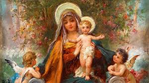 Blessed Mary with infant Jesus and angels cherubs Madonna and Child  Painting Painting by Magdalena Walulik