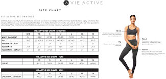 Zyia Size Chart Size Chart Vie Active