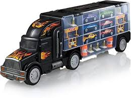 Play22 Toy Truck Transport Car Carrier - Toy Truck Includes 6 Toy Cars & Accessories - Toy Trucks Fits 28 Toy Car Slots - Great Car Toys Gift for Boys ...