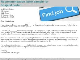 Hospital Coder Recommendation Letter