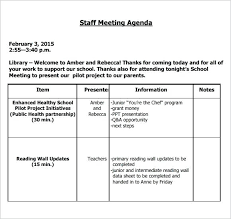 sample agendas for staff meetings meeting agenda sample noshot info