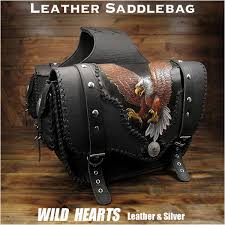 eagle carved leather motorcycle saddlebags right left throw over saddlebags double wild hearts leather silver id sb3777