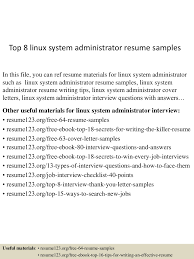 Resume Linux Administrator Resume For Your Job Application