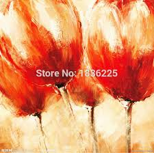 best ing handmade items painted canvas modern tulip abstract beautiful red flower oil paintings for bathroom