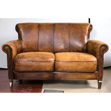 vintage art deco furniture. image of vintage french distressed art deco leather sofa furniture