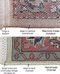 the construction of the machine made rug is very diffe from the handmade rug there is an overstitch pattern across the whole back of the machine made
