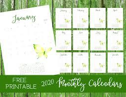 Free 2020 Monthly Calendar Printable