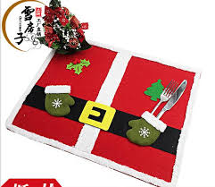 household dining table set christmas snowman knife: pcs pack christmas table mat with knife and fork bag placemat cloth pad for dining