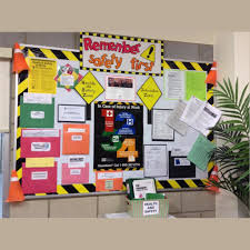 Information Board Design A Colorful Workplace Safety Bulletin Board Safety Celebration