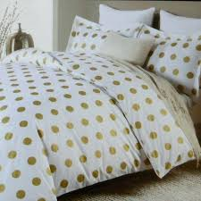 nicole miller large polka dot 3pc queen duvet set gold on white cotton dots white and