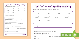 Word beginning and ending worksheets. Gn Kn Or Wr Spelling Activity Teacher Made