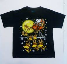 Snoopy Santa T-shirt Christmas Peanuts Woodstock Youth Sz Med 5/6 ...
