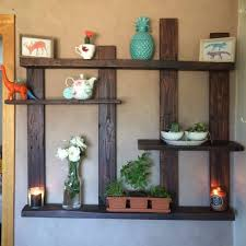 upcycled wooden pallet display shelf