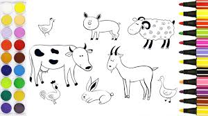 Farm Animal Coloring Pages For Toddlers How To Color Cow Goat
