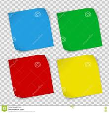Set Of Colored Paper Stickers Over Transparent Background Stock