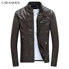 caranfier men s pu jackets coats motorcycle leather