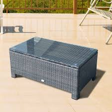 outsunny rattan wicker coffee table