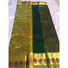 Light Green Combination Pure Silk Saree From Kanchipuram Forest Green And Light
