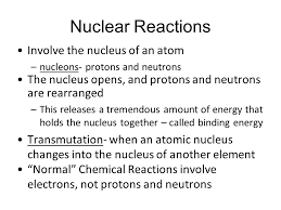 nuclear reactions involve the nucleus of an atom