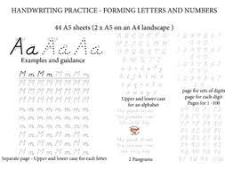 Handwritting Practice Practice Handwriting And Forming Letters Numbers 44 Worksheets