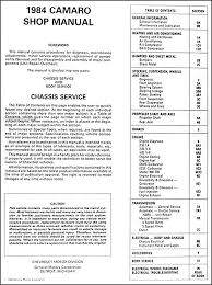 84 camaro wiring diagram 84 image wiring diagram 1984 chevy camaro repair shop manual original on 84 camaro wiring diagram