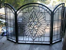 stained glass fire screen guard uk fireplace with bevels and clear textured glass fireplace screens stained