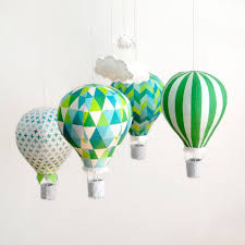 hot air balloon mobile emerald luxe diy kit including pattern fabric panel