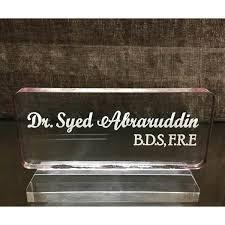 clear acrylic desk name plate