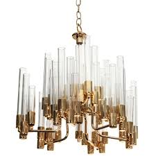 mid century 9 arm brass glass chandelier by hans agne jakobsson for