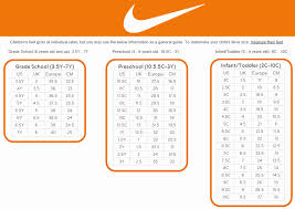 Nike Kids Shoe Size Chart Nike Youth Sneaker Size Chart Best Picture Of Chart