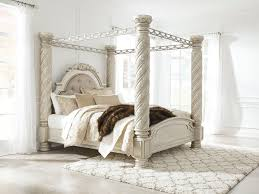 Unique canopy bed Solid Wood Image Hilton Furniture Mattress Cassimore Pearl Silver King Upholstered Poster Canopy Bed Sold At