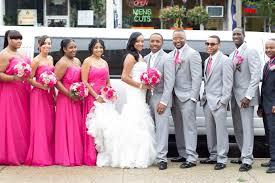 Hot pink wedding bridal party fuchsia mermaid dress ruffles