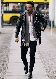 These are understated colors that work well with most clothes. Magic Fox With Fall Monochrome Look Skinny Black Denim Black Chelsea Boots Black Leather Jacket White Butto Mens Street Style Mens Outfits Mens Fashion Casual