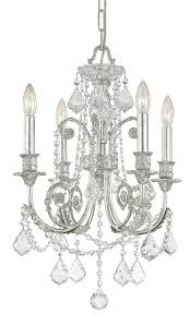 4 lights olde silver crystal chandelier