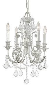 4 lights olde silver crystal chandelier