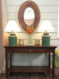 Rustic Style Small Entry Table Ideas With Oval Mirror
