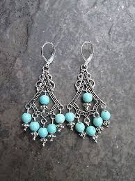 turquoise boho chic chandelier earrings with sterling silver lever backs