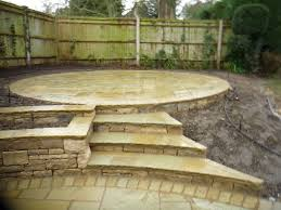 indian stone garden steps and circular raised patio